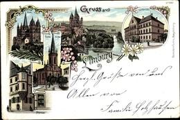 Lithographie Limburg An Der Lahn, Dom, Ev. Kirche, Landgericht, Plötze - Otros