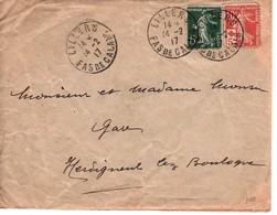 France N° 137 & N°147 LILLERS (Pde C) Pour HERDIGNENT  LEZ BOULOGNE--14/02/1917 - France