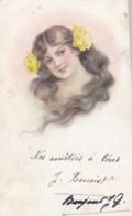 CPA -  Illustrateur -Buste De Femme Avec Longs Cheveuux Et Fleurs Jaunes  ( Lot Pat 87) - Mujeres