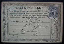 Romilly Février 1877 Raverdeaux, Meuniers Cachet Sur Carte Précurseur Convoyeur Paris à Belfort A Pour Turckheim - Marcophilie (Lettres)