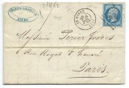 N°14 BLEU NAPOLEON SUR LETTRE / LE HAVRE POUR PARIS / 20 JUIN 1862 / SUCRE REUNION - Storia Postale