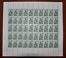 Feuille Complète De 50 Timbres ARRAS LE BEFFROI 10F VERT FRANCE 1942 N°567 - Volledige Vellen