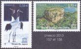France - Timbre De Service N° 157 Et 158 ** Unesco 2013 - Grues Du JAPON Et Le Site De Sigiriya Au SRI NLANKA - Service
