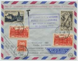 1re Liaison Postale Aérienne Paris-Johannesburg Par Avion à Réaction 26 Octobre 1953 . Le Teil D'Ardèche . Taxe . - Airmail