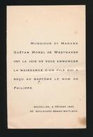 ADEL NOBLESSE -  GAËTAN MOREL De WESTGAVER   GEBOORTE ZOON 1946  PHILIPPE - Geburt & Taufe