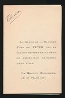 ADEL NOBLESSE -  BARON YVES De VINCK    GEBOORTE DOCHTER  1931  THERESE - Geburt & Taufe