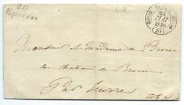 MARQUE POSTALE CURSIVE EPOISSE / SEMUR POUR SEURRE / 1838 / DOUBLE FLEURON / FAIRE PART MARIAGE COMMINGES GUITAUT - Postmark Collection (Covers)
