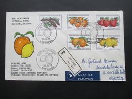 Türkei / Zypern 1976 Einschreiben Lefkosa FDC Motivmarken Früchte Luftpost / Air Mail Nach Deutschland - Cartas
