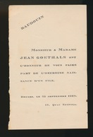ADEL NOBLESSE -  JEAN GOETHALS    GEBOORTE ZOON 1932  BAUDOUIN - Naissance & Baptême