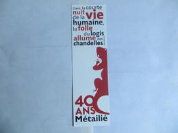 Marque Page Edition Métailié - Anniversaire 40 Ans - Extrait Rosa Montero - Marcapáginas