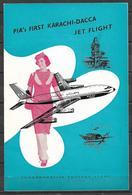 PAKISTAN 1962 BROCHURE WITH STAMP FIRST JET FLIGHT PIA KARACHI TO DACCA - Pakistan