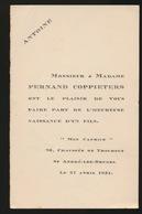 ADEL NOBLESSE -  FERNAND COPPIETERS      GEBOORTE ZOON 1931 ANTOINE - Geburt & Taufe