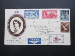Neuseeland / New Zealand Queen Coronation Elisabeth II FDC Wellington Nach Dreden Gesendet Via Air Mail - New Zealand