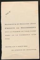 ADEL NOBLESSE -  JEAN PRIOUX De BAUDIMONT    GEBOORTE ZOON 1931 GUY - Naissance & Baptême