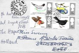 Oiseaux. Lettre De Grande Bretagne Vers Irlande Avec Reexpedition A Pays Bas 1966 Yvert 444/7 - Vögel