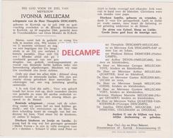 DOODSPRENTJE MILLECAM IVONNA ECHTGENOTE DESCAMPS KORTRIJK 1908 - 1965   Anti-kopie - Images Religieuses