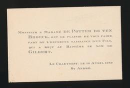 ADEL NOBLESSE -  De POTTER Deten BROECK     GEBOORTE ZOON 1929 GILBERT - Geburt & Taufe