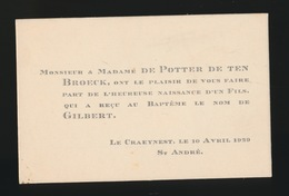 ADEL NOBLESSE -  De POTTER Deten BROECK     GEBOORTE ZOON 1929 GILBERT - Naissance & Baptême