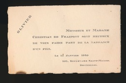 ADEL NOBLESSE -  CHRISTIAN DE FRAIPONT     GEBOORTE ZOON 1940 OLIVIER - Geburt & Taufe