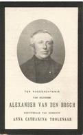 VAN DEN BOSCH Alexander °1831 Oorderen +1911 Stabroek Wed Anna Tholenaar Doodsprent Image Mortuaire Funeral Card - Godsdienst & Esoterisme