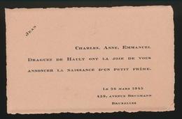 ADEL NOBLESSE -   DRAGUEZ DE HAULT     GEBOORTE ZOON 1943 JEAN - Geburt & Taufe