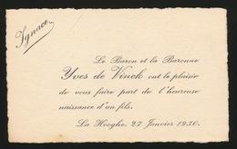 ADEL NOBLESSE -   BARON YVES De VINCK     GEBOORTE ZOON 1930 IGNACE - Naissance & Baptême