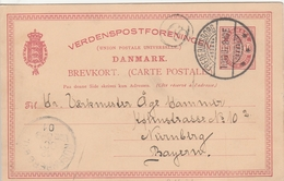 Danemark Entier Postal Pour L'Allemagne 1901 - Interi Postali