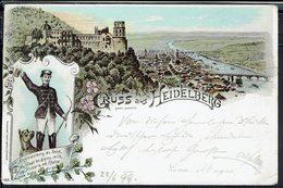 """Allemagne - 1899 - Affranchissement Timbre N° 46 Sur CPA """"Gruss Aus Heidelberg"""" Correspondance Pour Steyri (Aut) - - Alemania"""