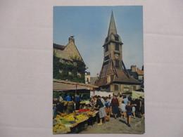 CPA CPSM CP CALVADOS 14 HONFLEUR 1971 - LE CLOCHER DE L'EGLISE SAINTE-CATHERINE ET LE MARCHÉ - ED YVON BE - Honfleur