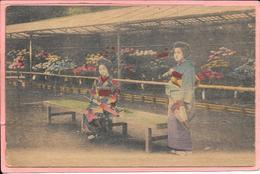 Japon Carte Sur Bois On Wood 2 Femmes 2 Womens Beside Flowers - Non Classés