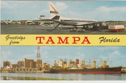 Tampa FL Florida International Airport Delta Airlines Cargo Ship Postcard - 1946-....: Era Moderna