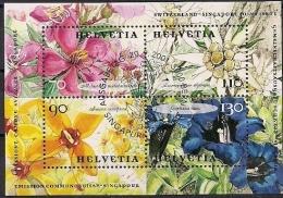 2001 Schweiz Mi. Bl. 31 FD Used Blumen  Parallelausgabe Mit Singapur - Usados