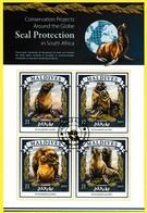 Bloc Feuillet Oblitéré - Protection Des Phoques En Afrique Du Sud Otarie à Fourrure D'Afrique Du Sud - Maldives 2015 - Maldives (1965-...)