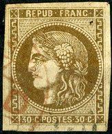 """N°47 30ct Brun Avec De Grandes Marges, Cote 250 €. Obl. """"LONDON PAID"""" Lire Description - 1870 Bordeaux Printing"""