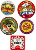 Étiquettes De Fromage (Lot De 5) : CAMEMBERT, LIVAROT, CARRÉ MINISTRE, LePetit, Calvados, Graindorge - Cheese