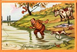 FEL1296, Attention!!! ça Mord !!!, Pêcheur, Vache, Chien, Grenouille, Frog, Escargot, Non  Circulée - Humour
