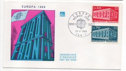 1969-- FDC   EUROPA --2 Valeurs --cachet  Paris -75 - FDC