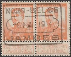 Belgique 1913 COB 116. 1 F Pellens En Paire. Splendide Oblitération Nord-Belge Jambes - 1912 Pellens