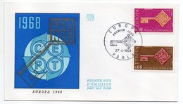 1968-- FDC   EUROPA --2 Valeurs --cachet  Paris -75 - FDC