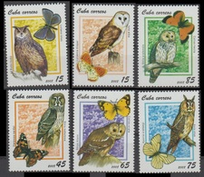 2008Cuba5086-5091Owls / Butterflies6,00 € - Hiboux & Chouettes