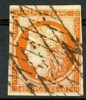 N°5 40ct Orange, Cote 500 €. Oblitéré, Lire Description - 1849-1850 Ceres