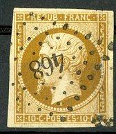 N°9a 10ct Bistre Brun, Cote 950 €. Oblitéré, Lire Description - 1852 Luigi-Napoleone