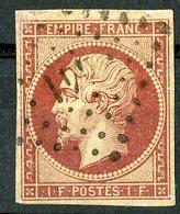 N°18 1Fr Carmin, Cote 3400 €. Oblitéré, Lire Description - 1853-1860 Napoleone III