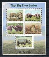 TANZANIA,2013, BIG FIVE ANIMALS, 5M/S, MNH** - Francobolli