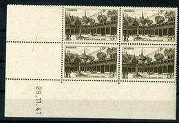 """N° 499 ** (MNH). Coin Daté Du 29/11/41 / Bloc De Quatre """"Hôtel Dieu De Beaunel"""". - Ecken (Datum)"""