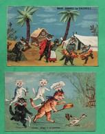 Fantaisie Chat Chats Habillés Format 9cm X 14cm Lot De 2 Cartes Postales - Animali Abbigliati