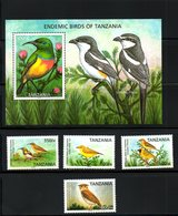 TANZANIA, 2006, ENDEMIC BIRDS, 4v+M/S   MNH** - Zonder Classificatie