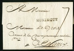 """1763 MARQUE MANUSCRITE DU MESSAGER DE MULHOUSE """"m"""" Au Verso + """"HUNINGUE"""" Au Recto. Lire Description Détaillée - 1701-1800: Précurseurs XVIII"""