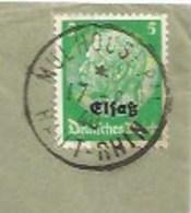 SK542 - MULHOUSE Pal - 17 Aout 1940 - Cachet FRANCAIS Sur Timbre ALLEMAND Hindenburg Surchargé Elsass - - Elsass-Lothringen