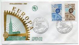 1967 -- FDC     EUROPA  ---- 2 Valeurs   --  Cachet    STRASBOURG - 67 - FDC